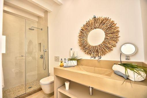 Mediterranean-style bathroom with shower