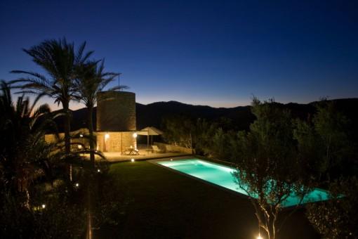 Illuminated pool area and garden