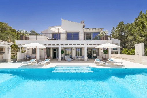 Exterior view of the unique villa with pool