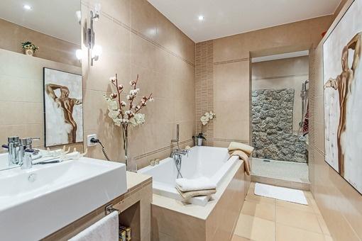 Modern bathroom with shower and bathtub