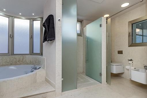 Bathroom with daylight, shower and bathtub