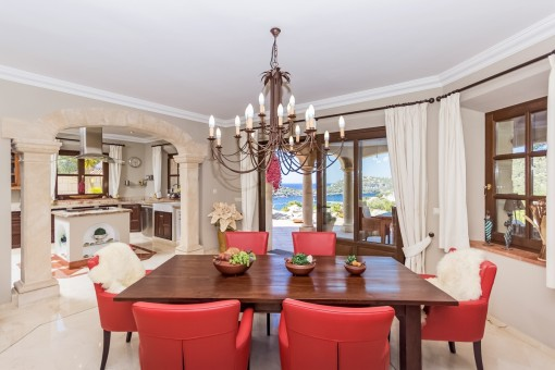 Dining room with adjacent open kitchen