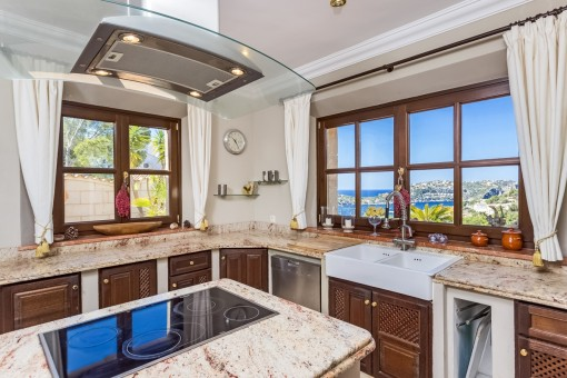 Kitchen with views of the harbour