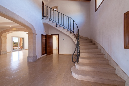 Unique staircase leads to the upper floor