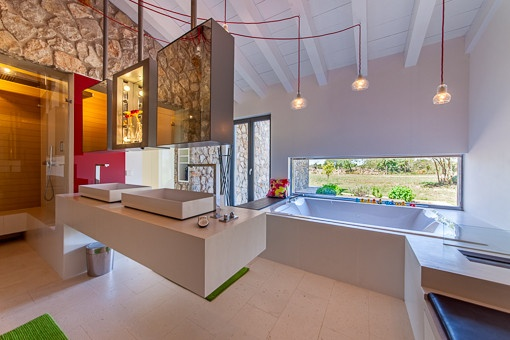 Stylish bathroom with bath tub