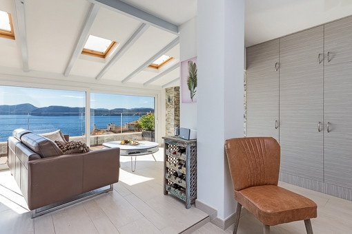 Inviting living area with sea views