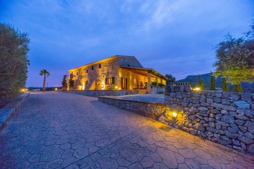 Views to the natural stone finca by night