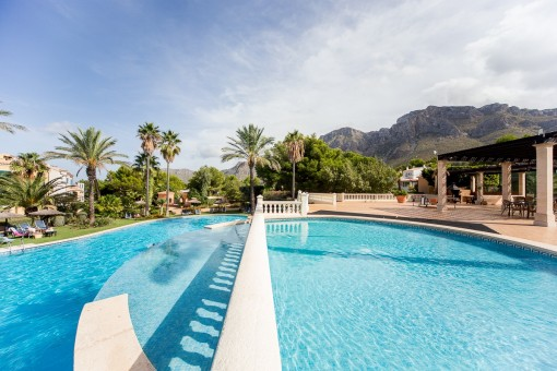 Pool area with views of the mountains