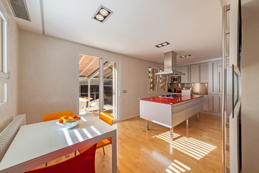 Modern kitchen with access to terrace
