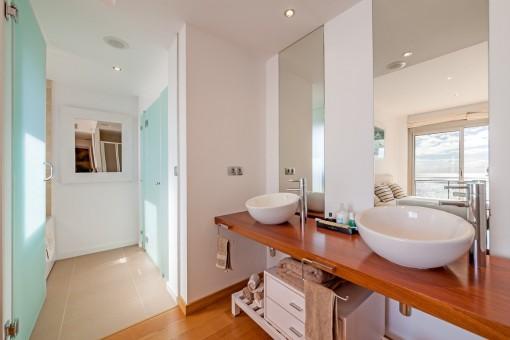 Bright master bathroom