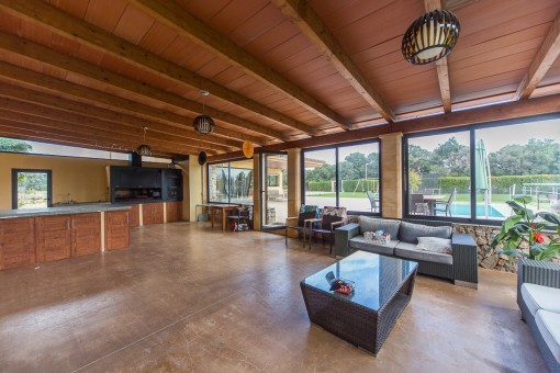 Barbecue and party house with panoramic windows