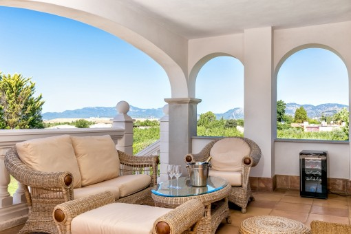 Idyllic seating area on the terrace with fantastic views