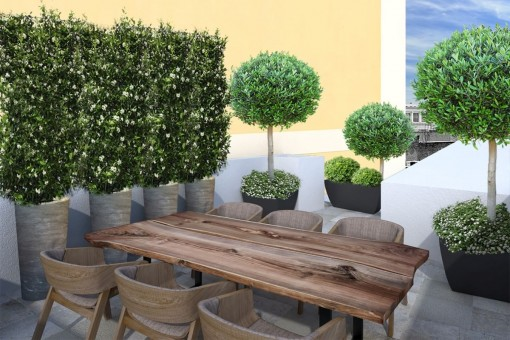 Roof terrace with views over the town