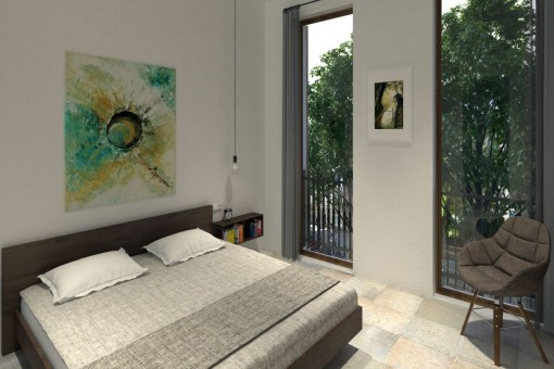 Cosy bedroom with double bed and big windows