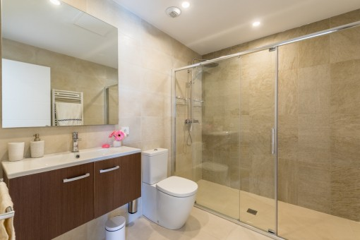 Modern master bathroom with large shower
