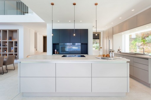 The kitchen offers ample space