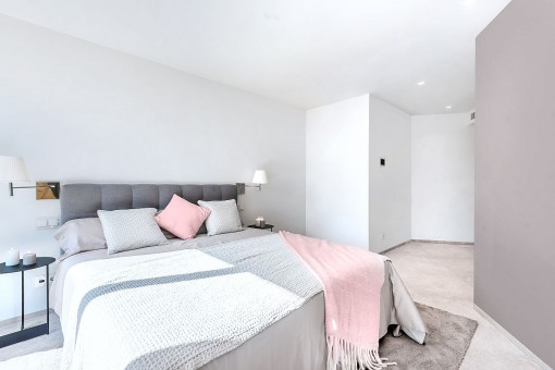 Soft pastell tones decorate the bedrooms