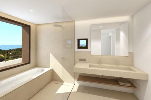 Master bathroom with shower and bathtub