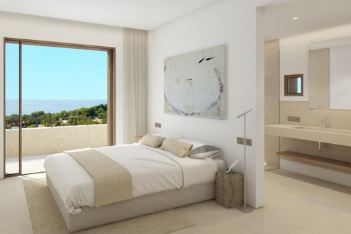 Cosy master bedroom with great sea views