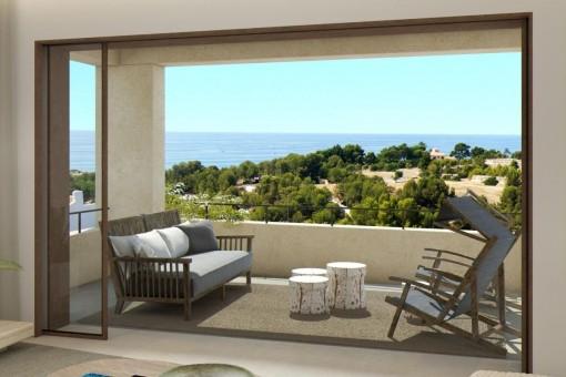 Lounge area with idyllic sea views