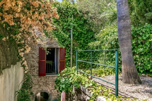 Idyllic garden beside the tower