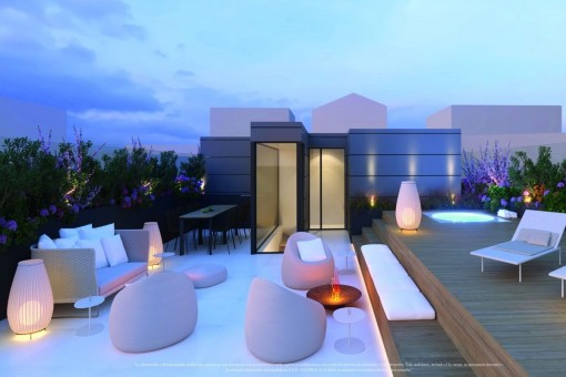 Impressive roof terrace with louunge at night