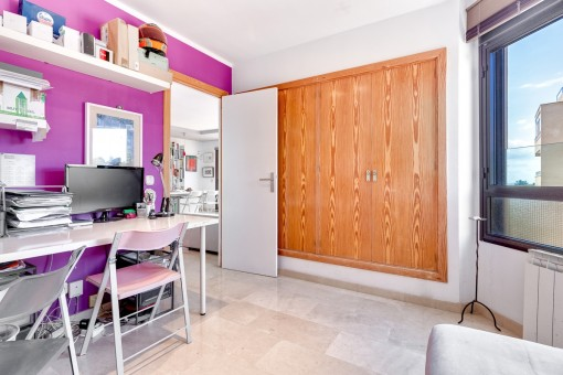 Bright room with built-in wardrobe