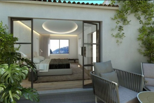 Luxurious master bedroom with dressing room and terrace