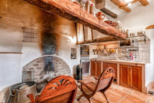 Rustic kitchen in the main house