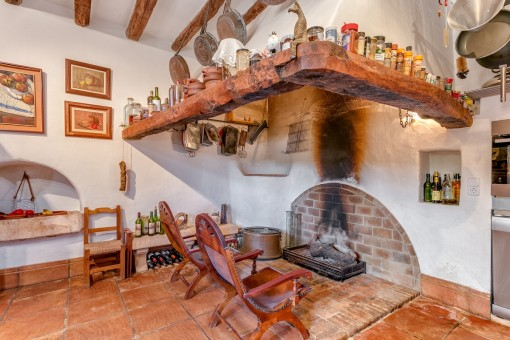 Authentic fireplace in the kitchen