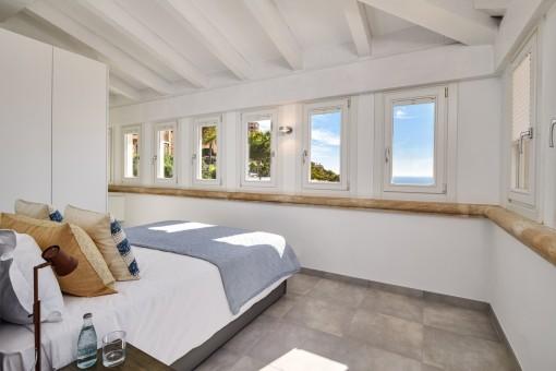 Spacious bedroom with fantastic sea views