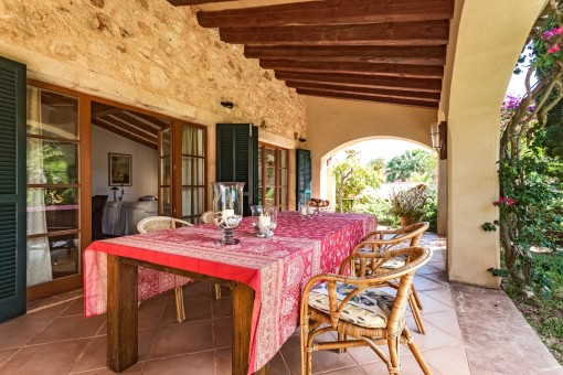 Large dining area on the covered terrace