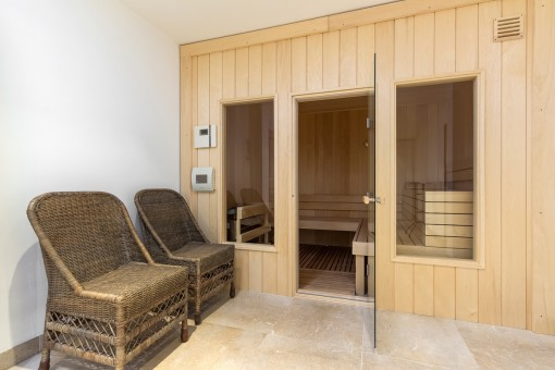 A sauna offers a wellbeing atmosphere
