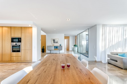 Long dining table in the living area