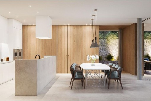 Bright dining area and stylish kitchen