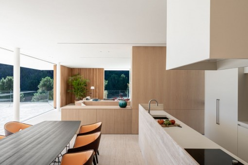 Open-plan living, dining and kitchen area