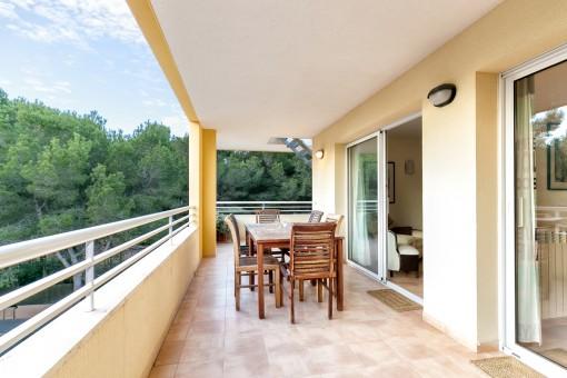 Dining area on the spacious balcony