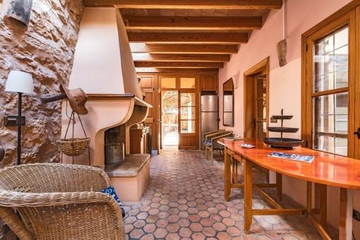 Alternative views of the fireplace area