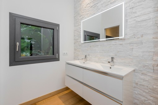 Bright bathroom with double sink