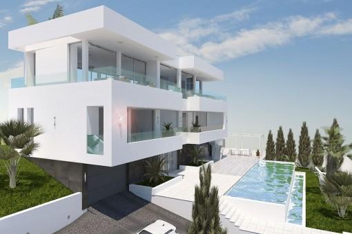 Modern villa with sea views in a central location in Palmanova