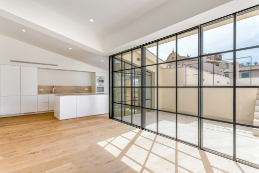 A very spacious, light-flooded open plan penthouse apartment with private roof terrace and views over the Paseig de Borne