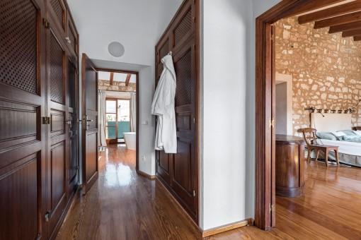 Corridor leading to the master bathroom