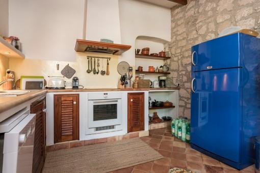 Unusual, blue fridge as an eye catcher