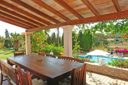 Dining area with views to the pool area