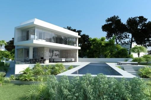Villa under construction on a first sea line plot in El Toro