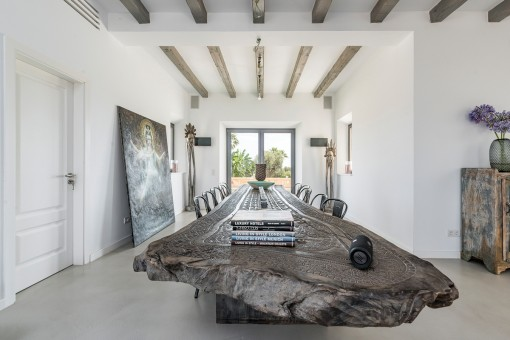 The dining area creates an unique ambience