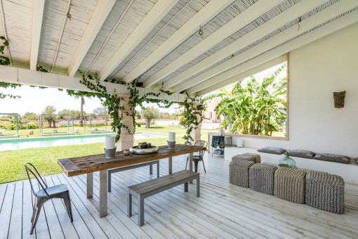 Enchanting terrace with summer kitchen
