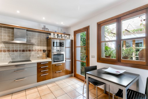 Modern kitchen with access to the patio