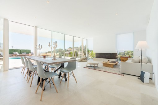 Living and dining area with panoramic windows