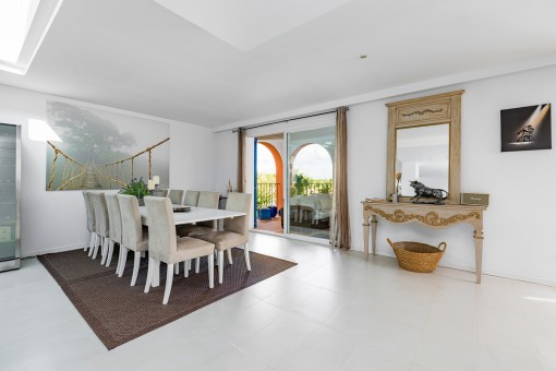 Spacious dining area with access to the balcony
